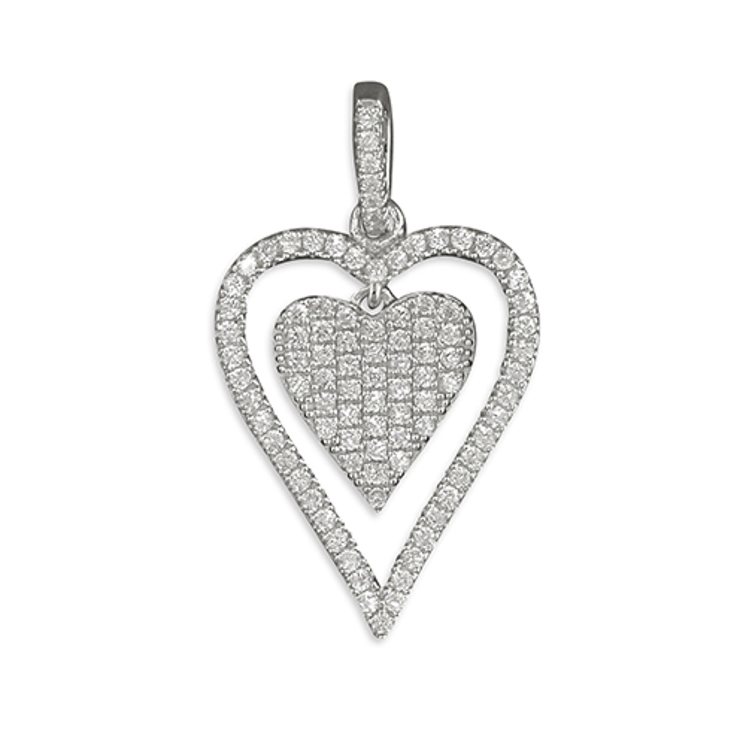 Sterling Silver Double Heart CZ Pendant