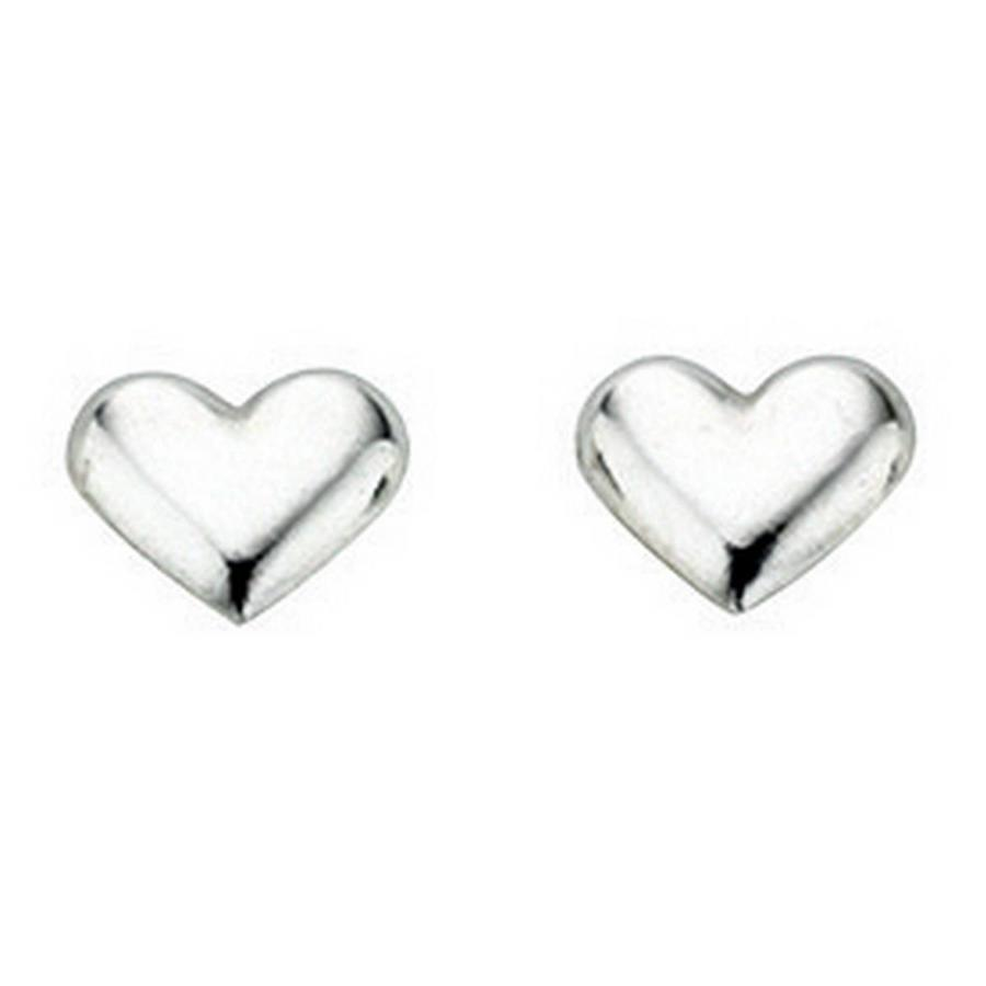 Sterling Silver Small Plain Heart Studs