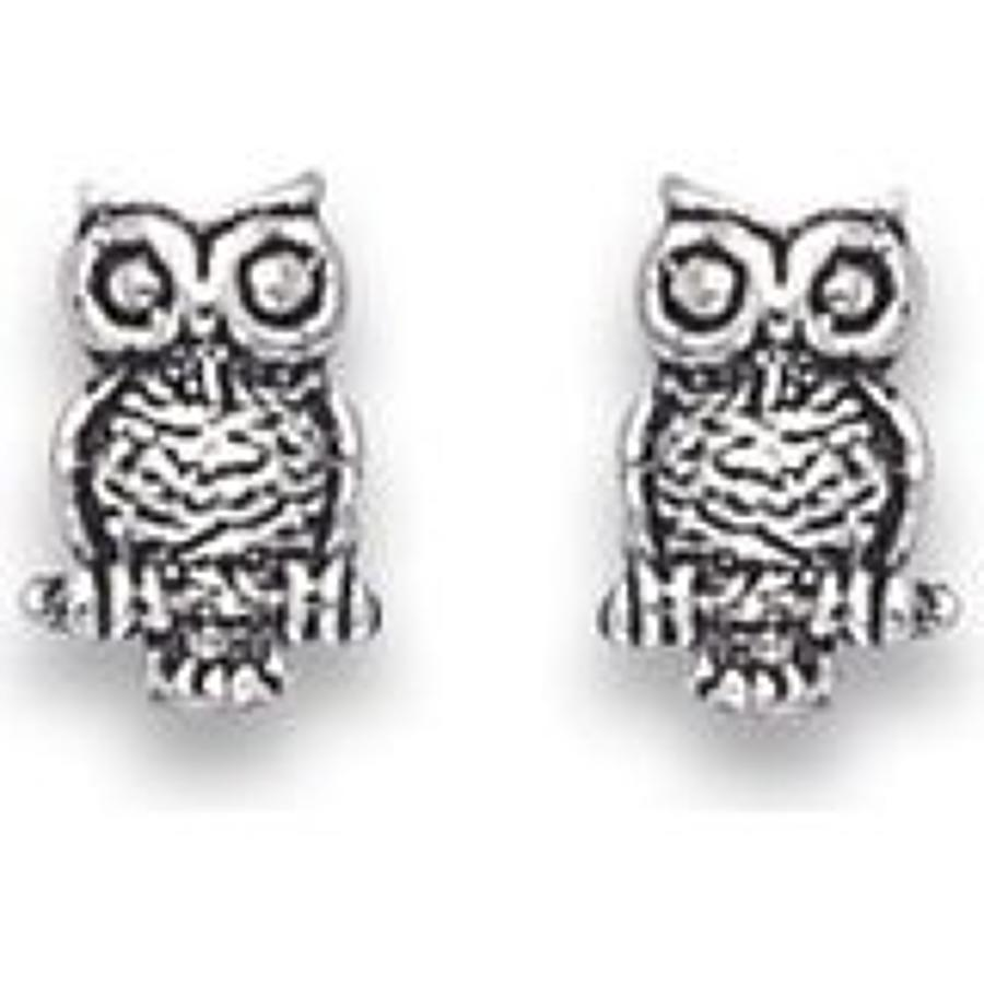 Sterling Silver Owl Studs