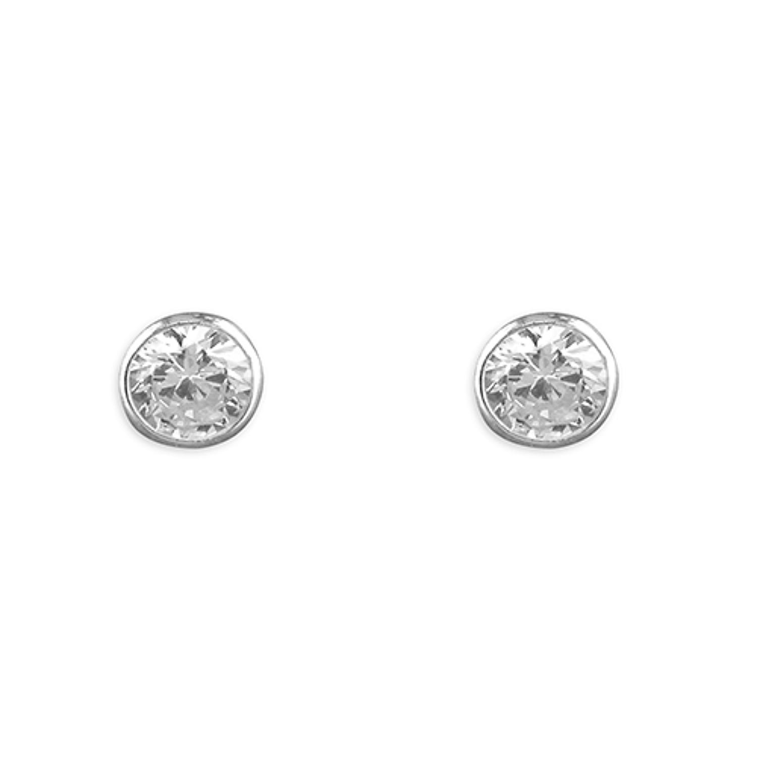 Sterling Silver 5mm CZ Rub-Over Studs