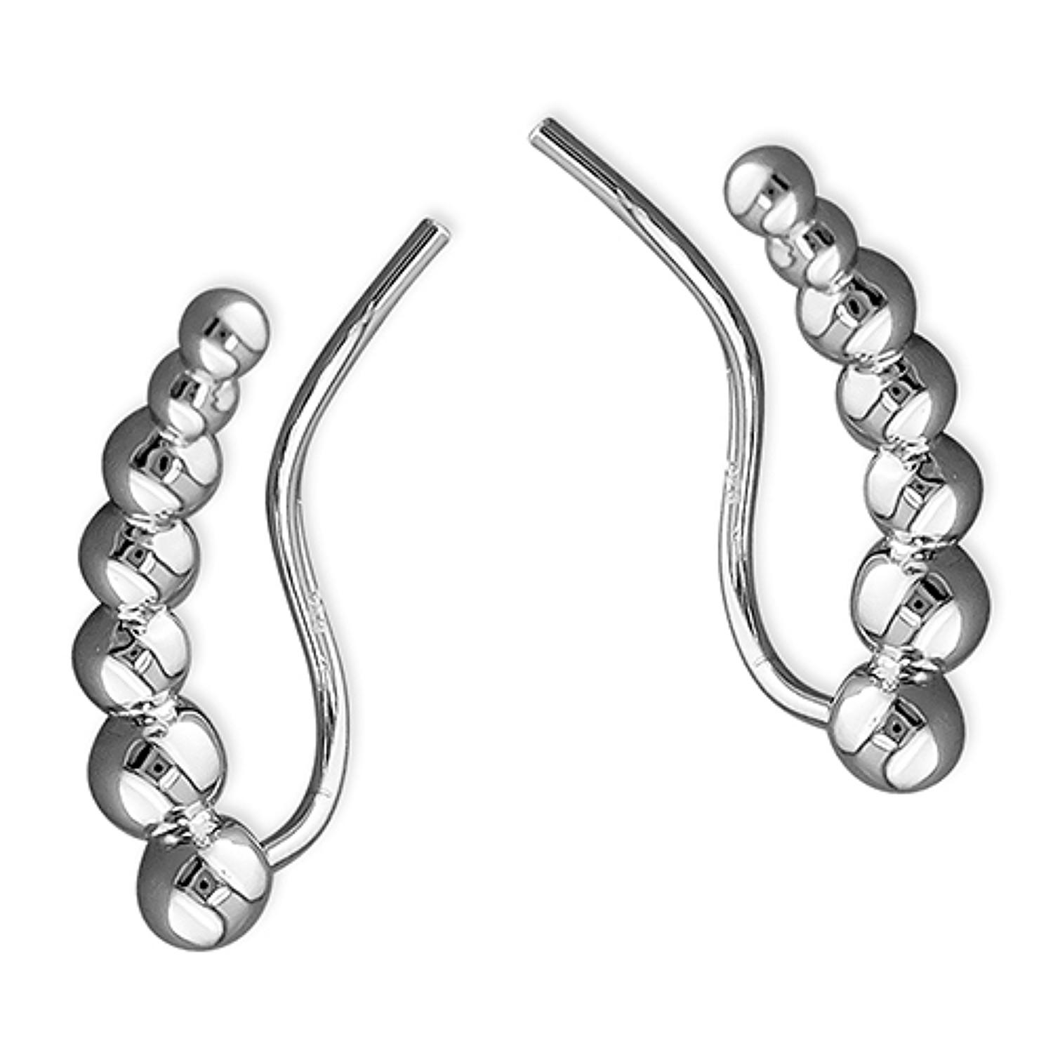 Sterling Silver Ball Ear Climber