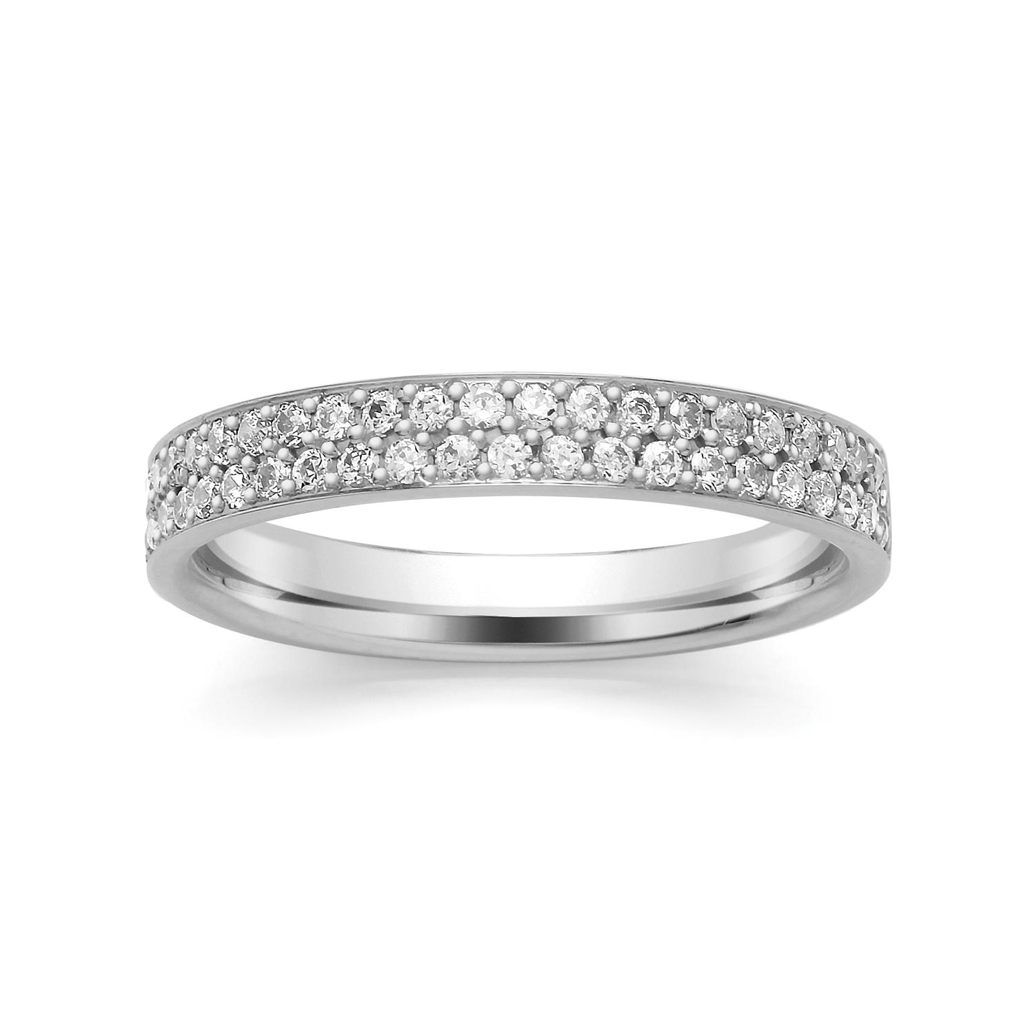 3.2mm Double Row Diamond Ring, Grain Set Ring
