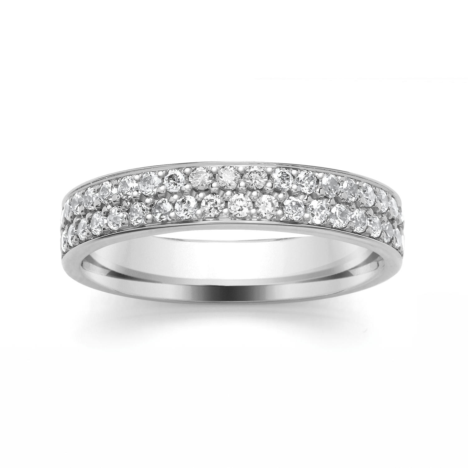 4mm Double Row Diamond Ring, Grain Set Ring