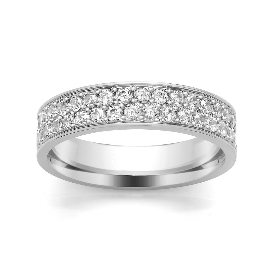 4.6mm Double Row Diamond Ring, Grain Set Ring