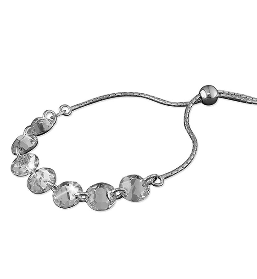 Sterling Silver White Crystal Slider Bracelet