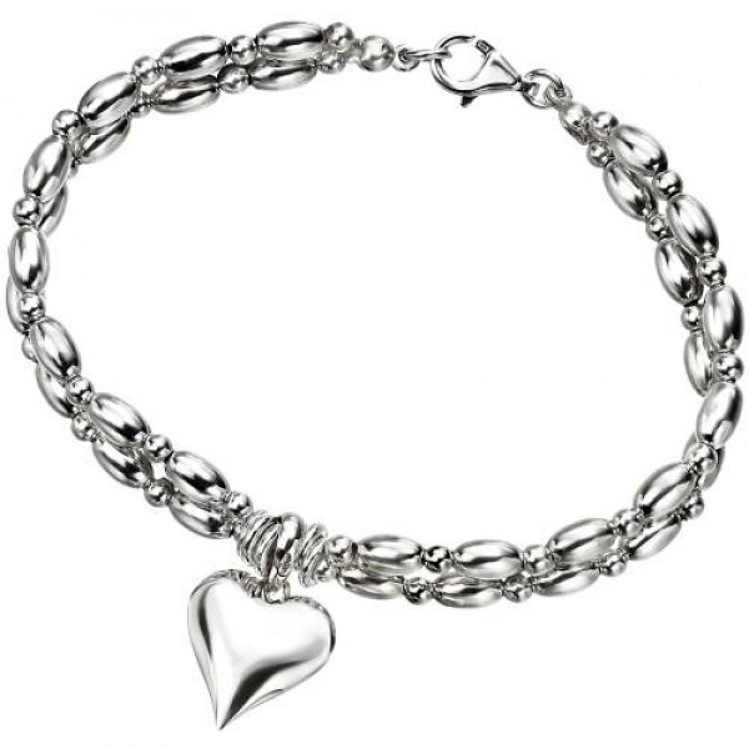 Sterling Silver Heart 2 Row Bracelet