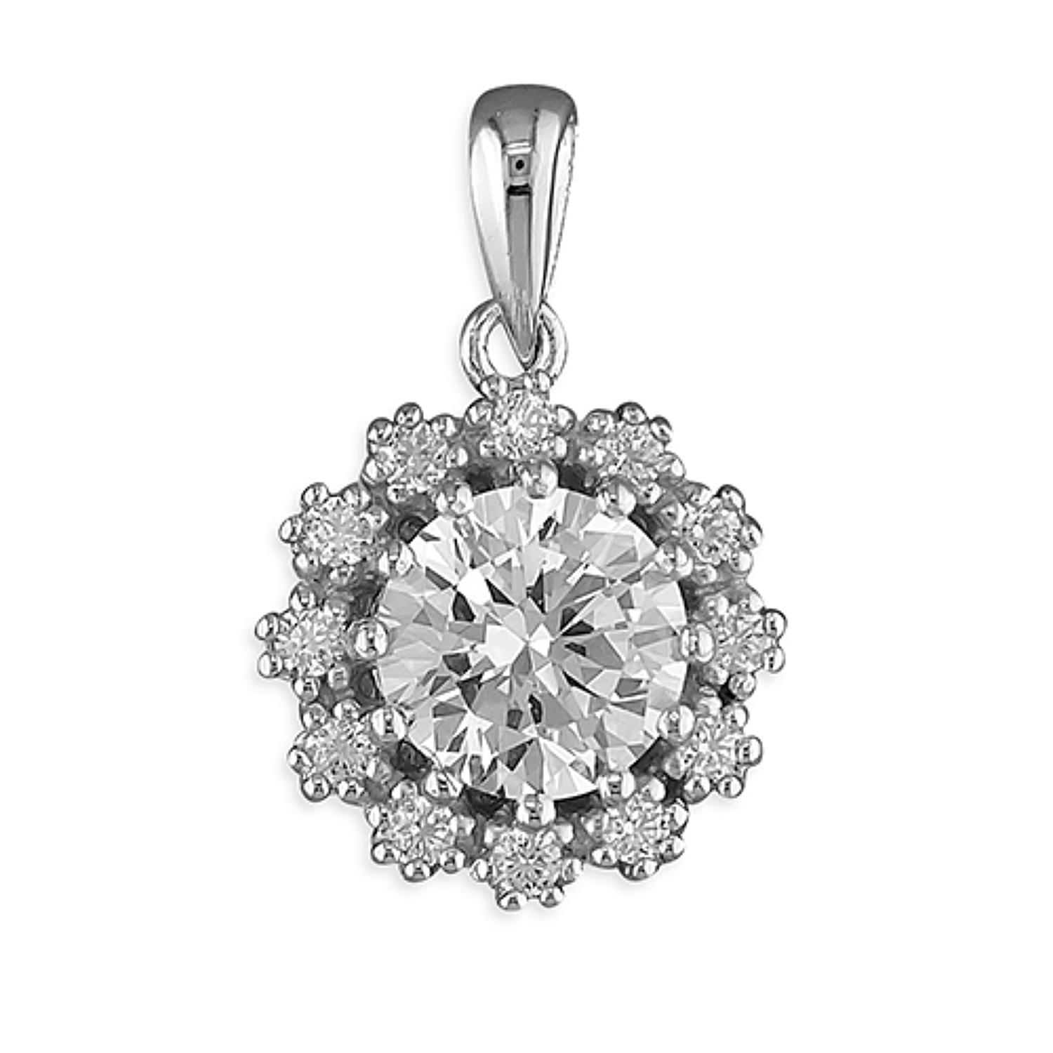 Sterling Silver CZ Cluster Pendant