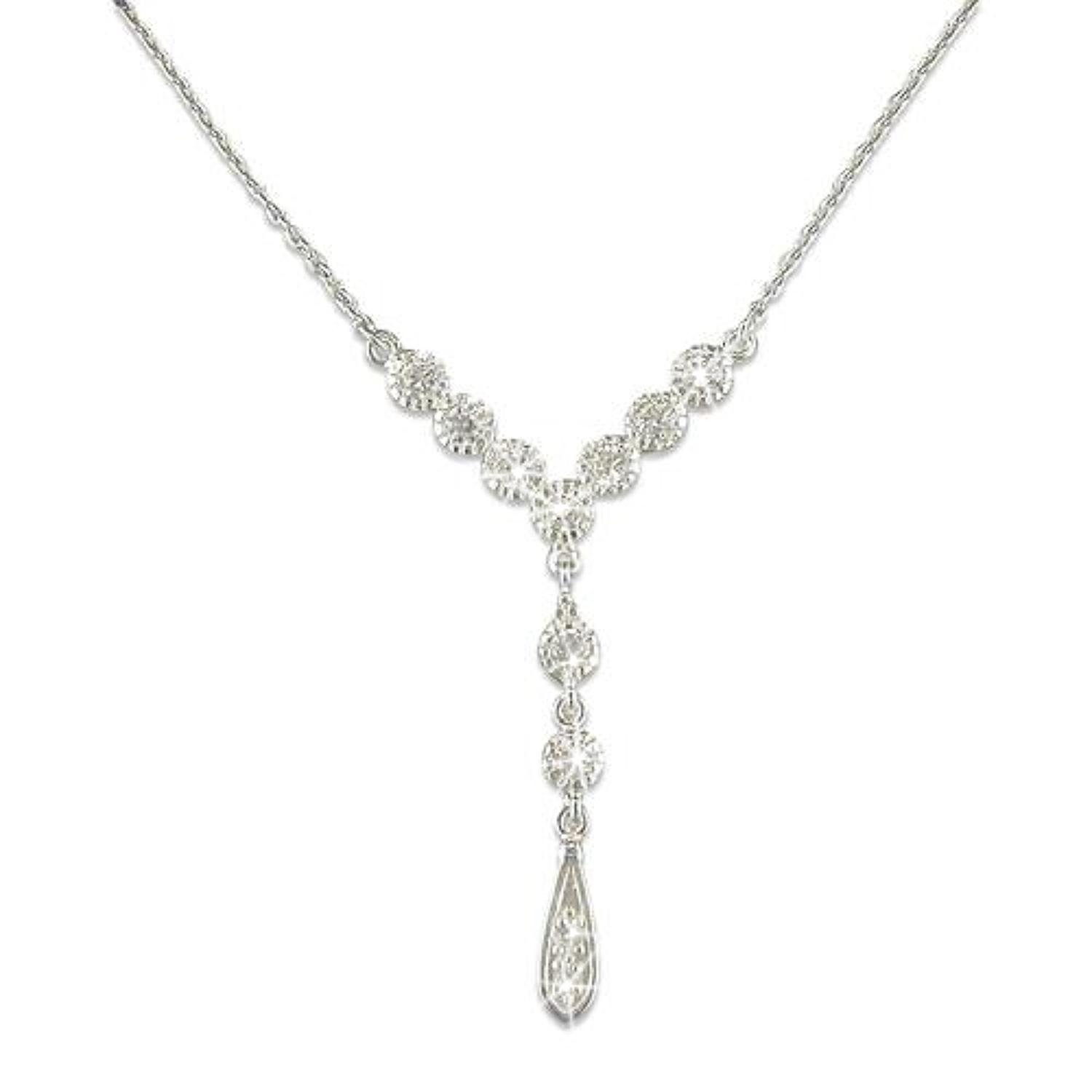Sterling Silver CZ 'Y' Shape Necklace