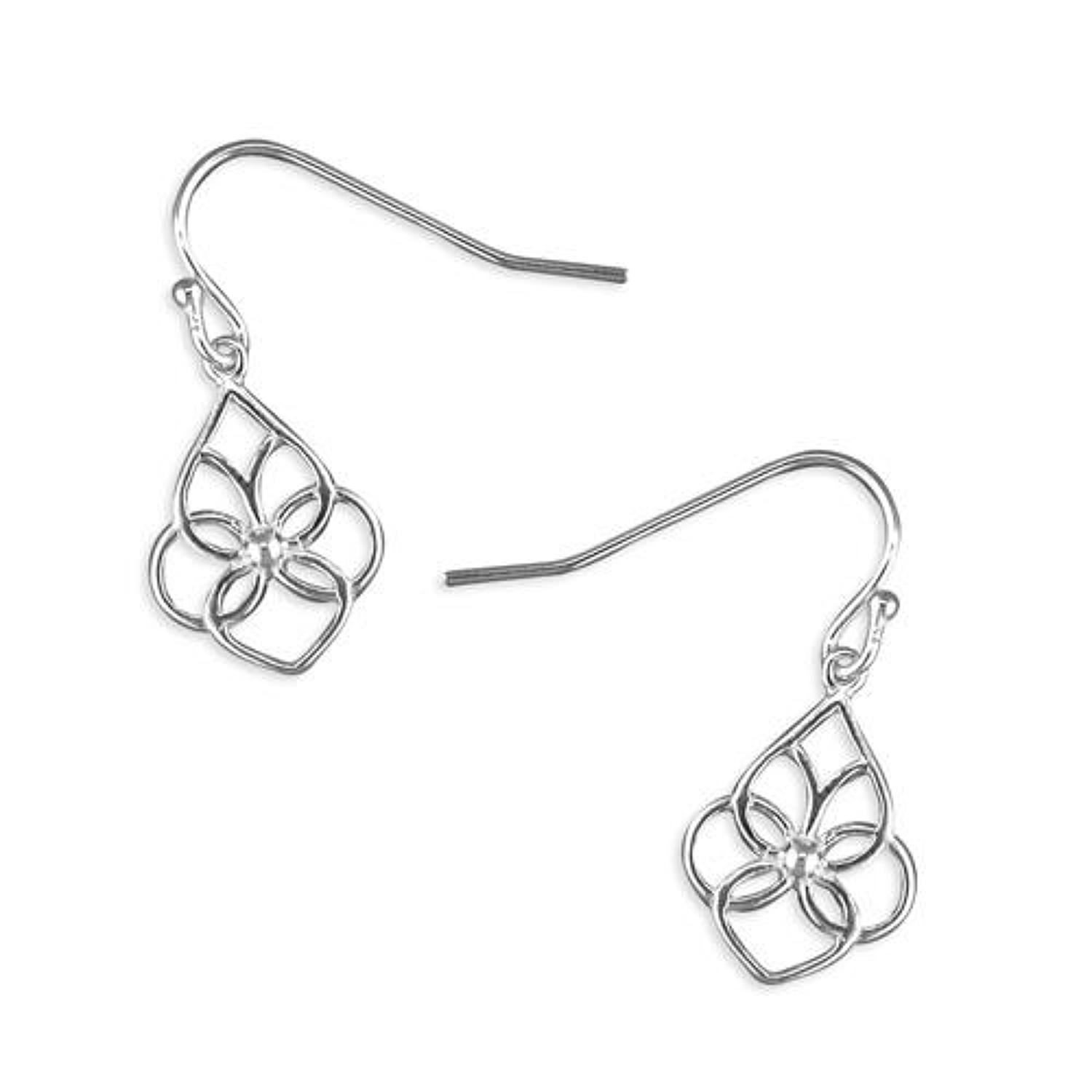 Sterling Silver Open Fancy Floral Drops