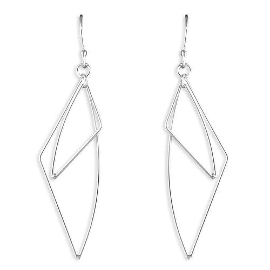 Sterling Silver Double Wire Abstract Drops