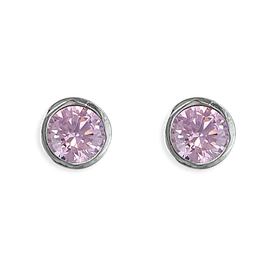 Sterling Silver 4mm Pink CZ Studs