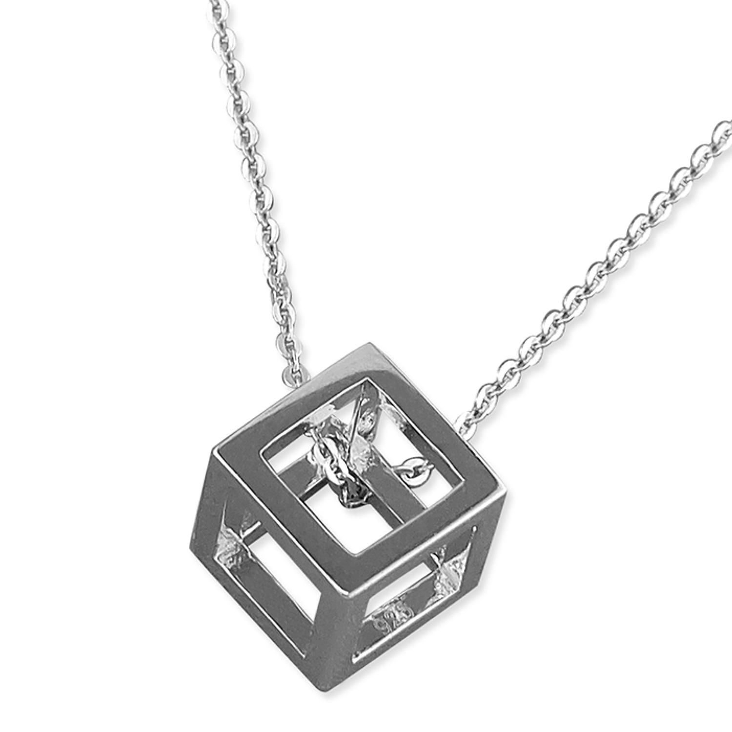 Sterling Silver Open Cube Pendant