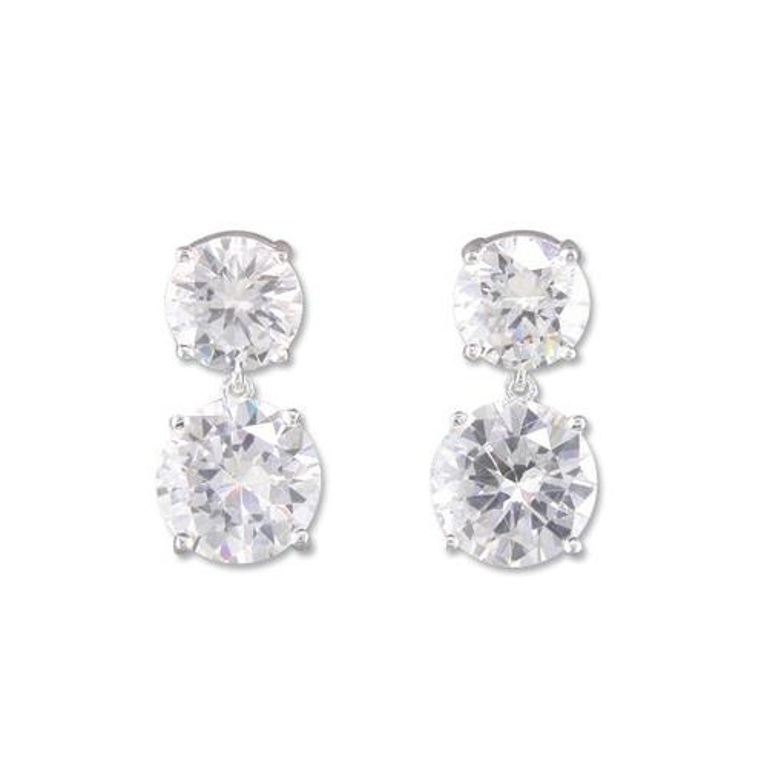 Sterling Silver Large Double Cz Drops