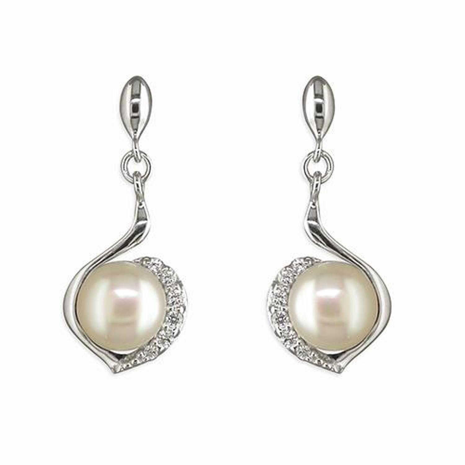 Sterling Silver Freshwater Pearl & Cz Drop Earrings