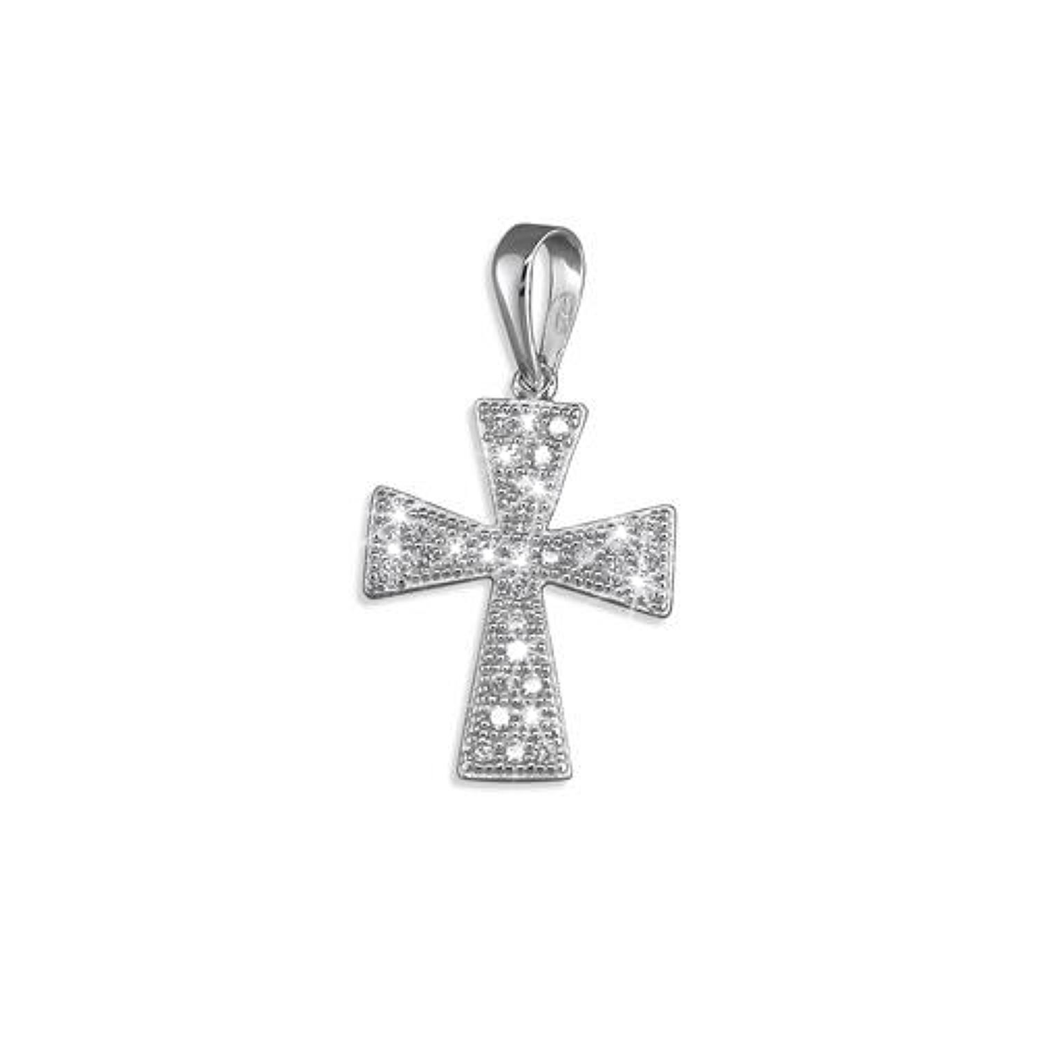 Sterling Silver Small CZ Pave Set Cross Pendant