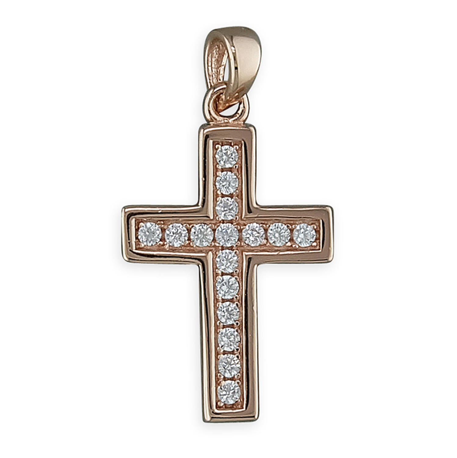 Sterling Silver & Rose Gold Plated Cz Cross