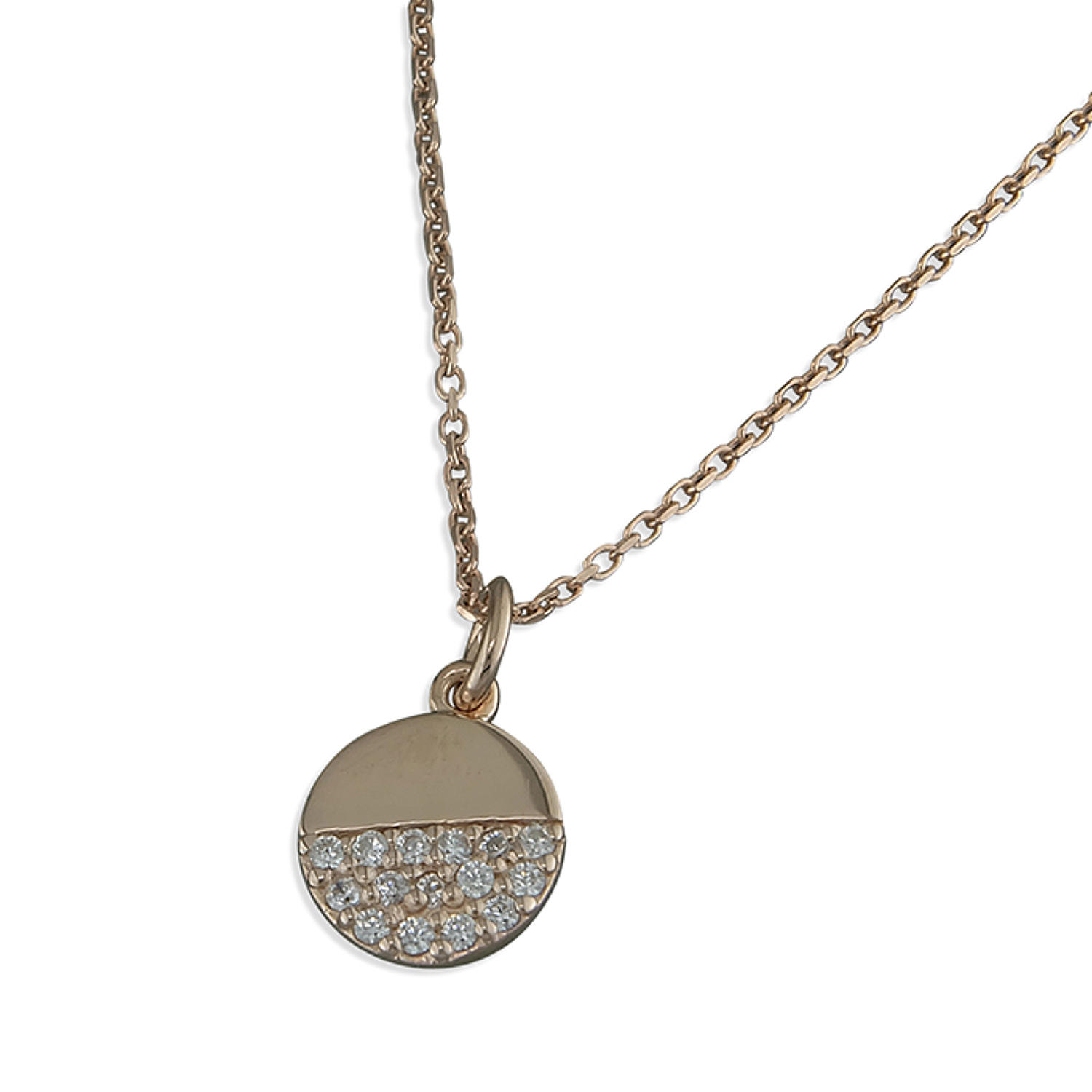 Sterling Silver & Rose Gold Plated Cz Disc Pendant