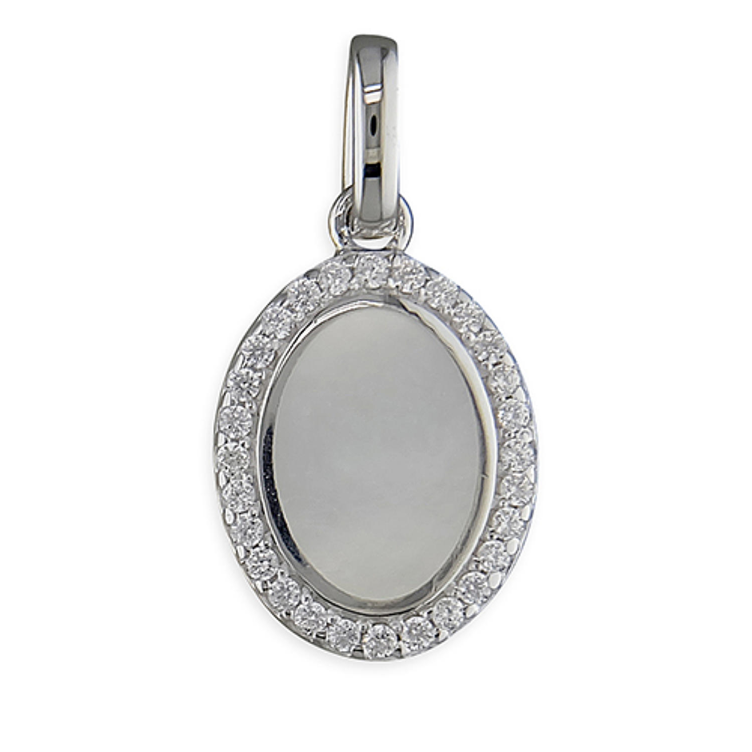 Sterling Silver Mother Of Pearl & Cz Pendant