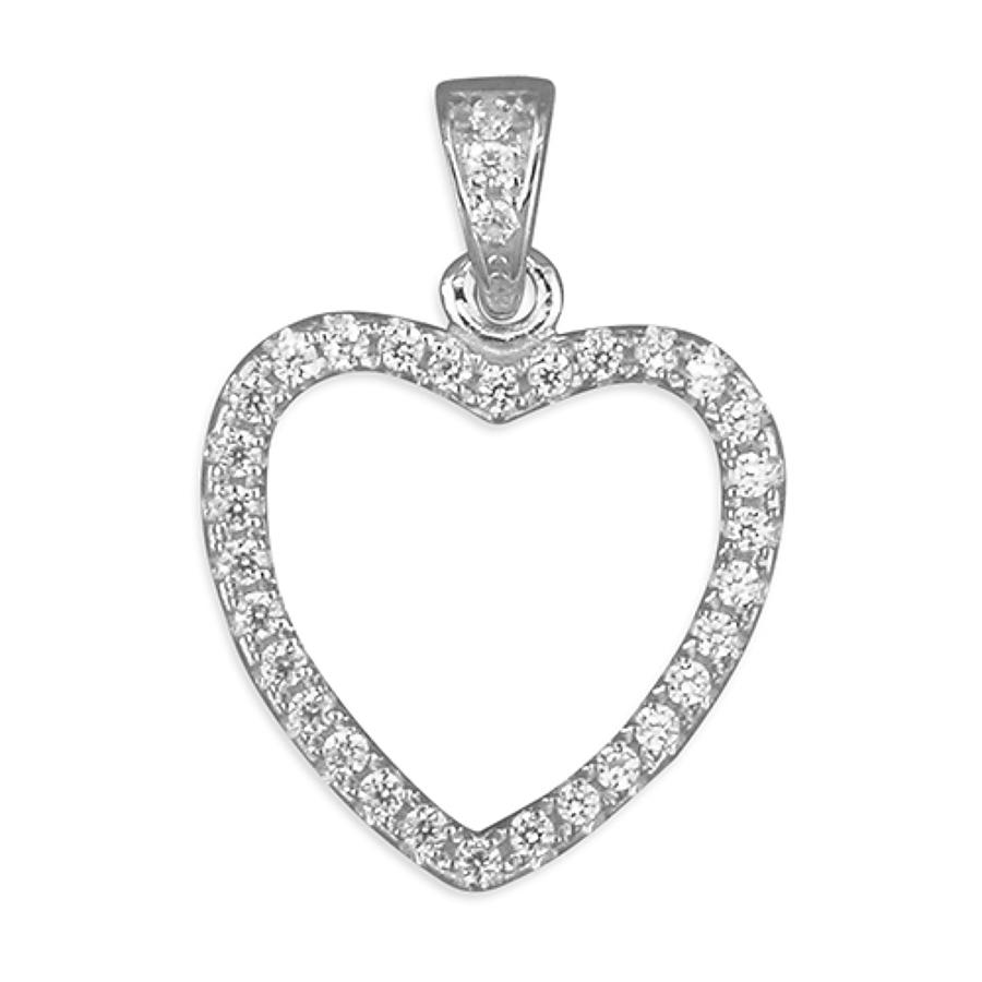 Sterling Silver Open CZ Heart Pendant