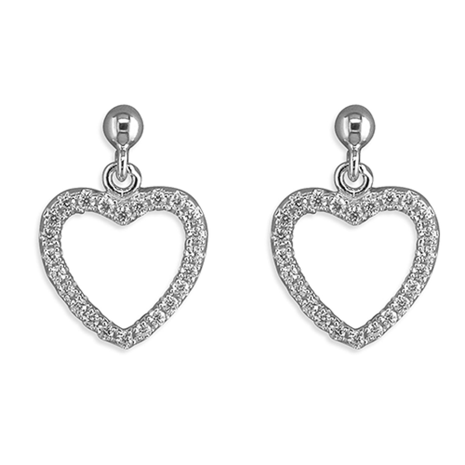 Sterling Silver Open CZ Heart Drops