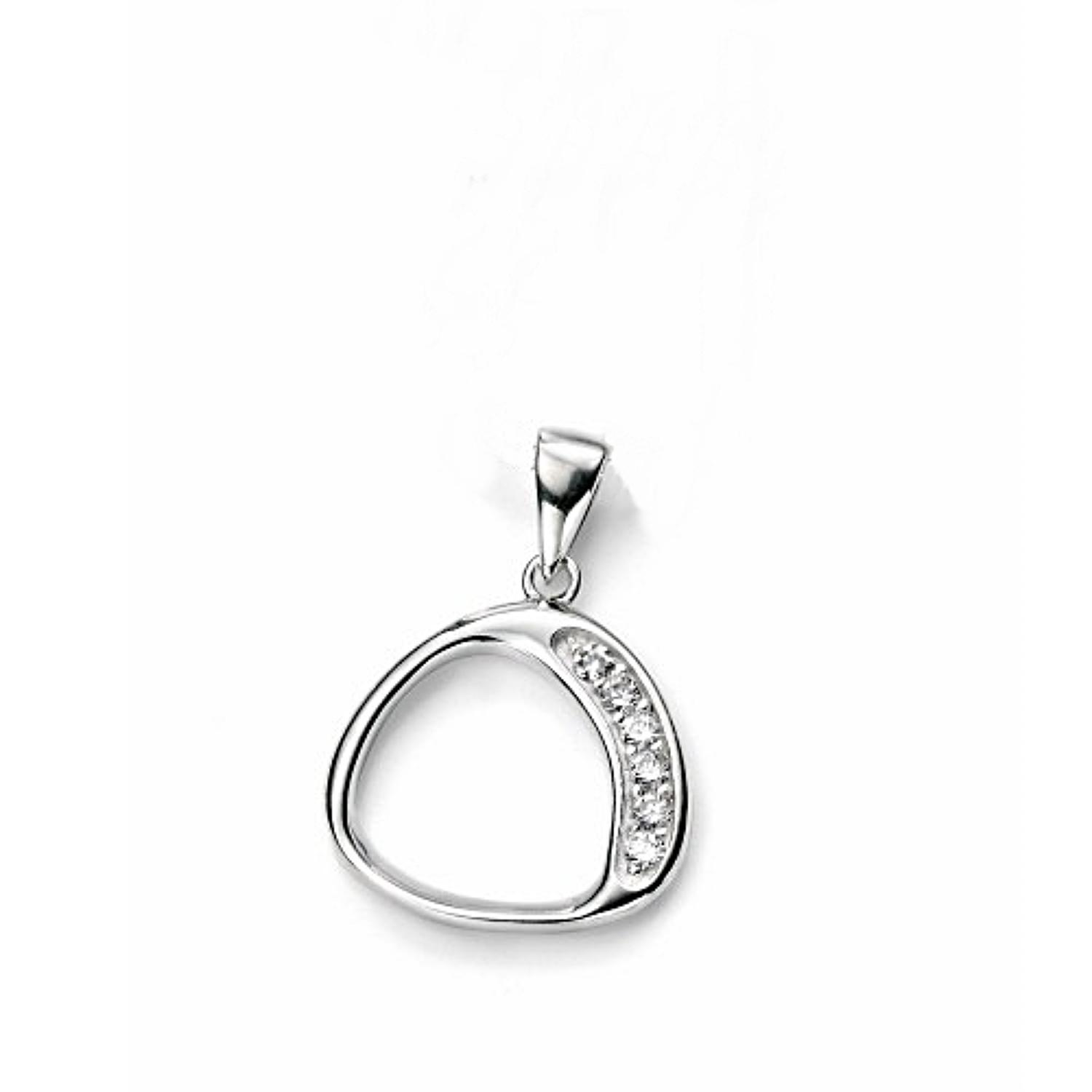 Sterling Silver Cz Open Abstract Pendant