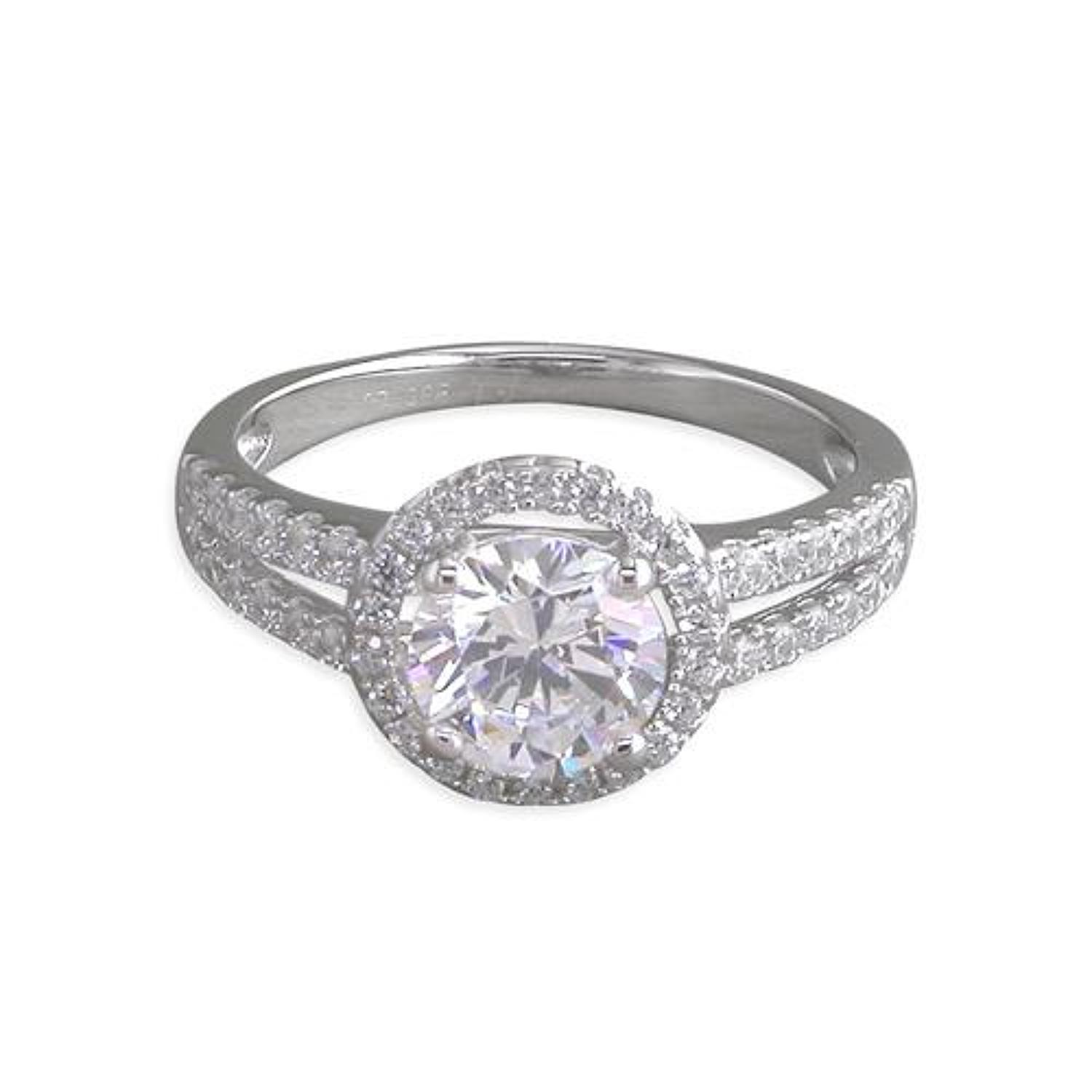 Sterling Silver Cz Round Cluster Halo Ring