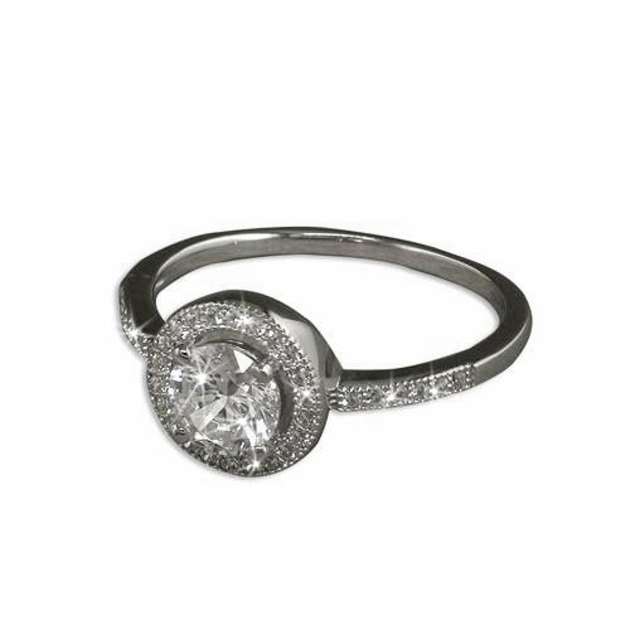 Sterling Silver Cz Micro Set Round Cluster Ring