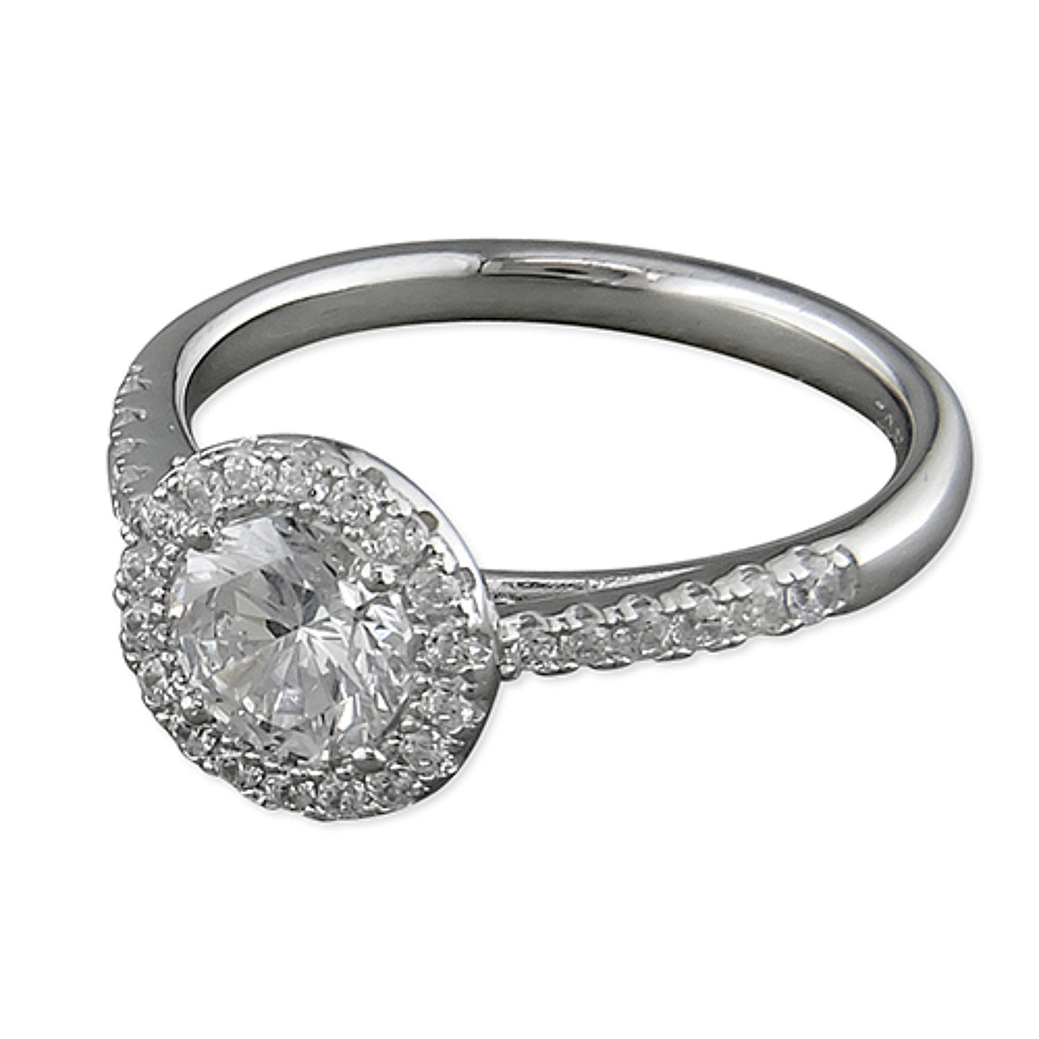 Sterling Silver Cz Round Cluster Ring with Cz Set Shoulders