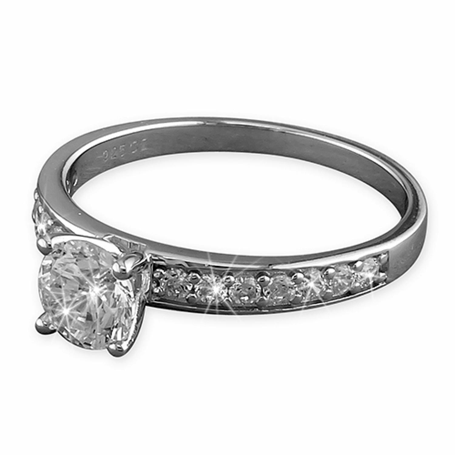 Sterling Silver CZ Solitaire Ring