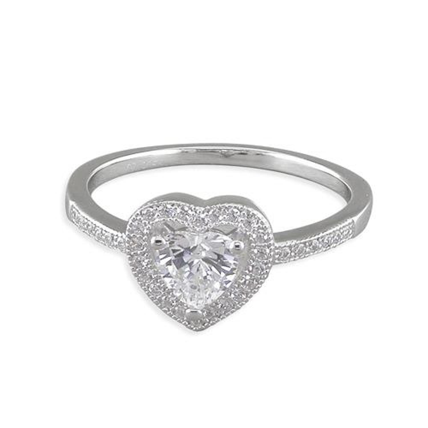 Sterling Silver CZ Heart Cluster Ring