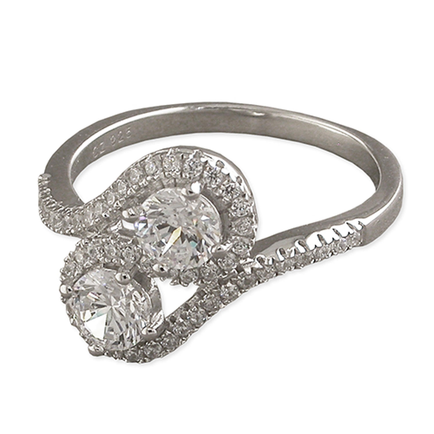 Silver Plated Double Loop Cubic Zirconia Ring