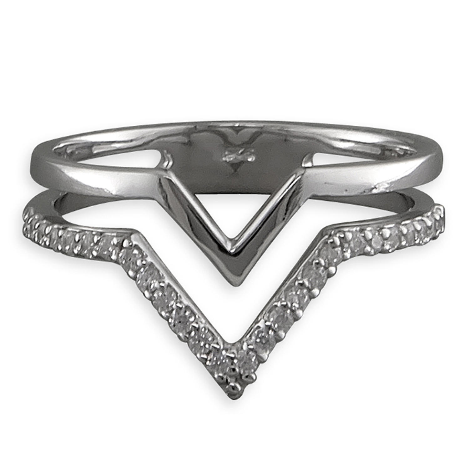 Sterling Silver Double Row Cubic Zirconia Wishbone Ring