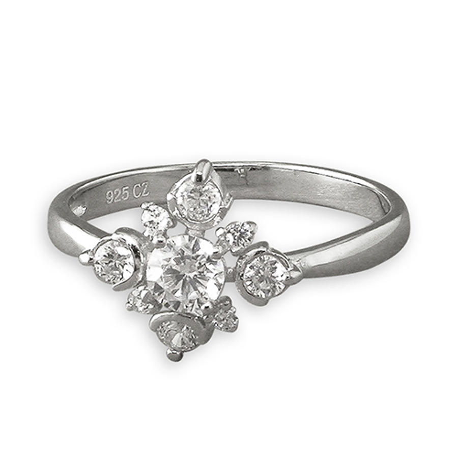 Sterling Silver Diamond Shape Cubic Zirconia Ring