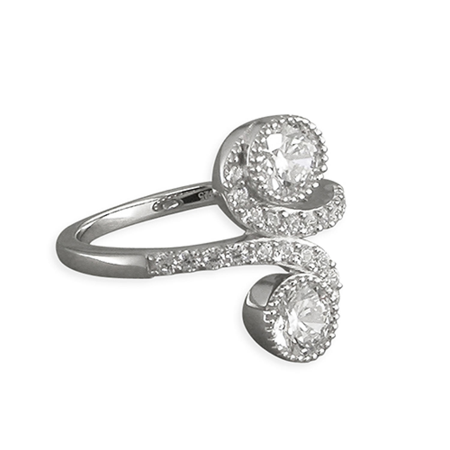 Sterling Silver Cubic Zirconia S-Cross Over Ring