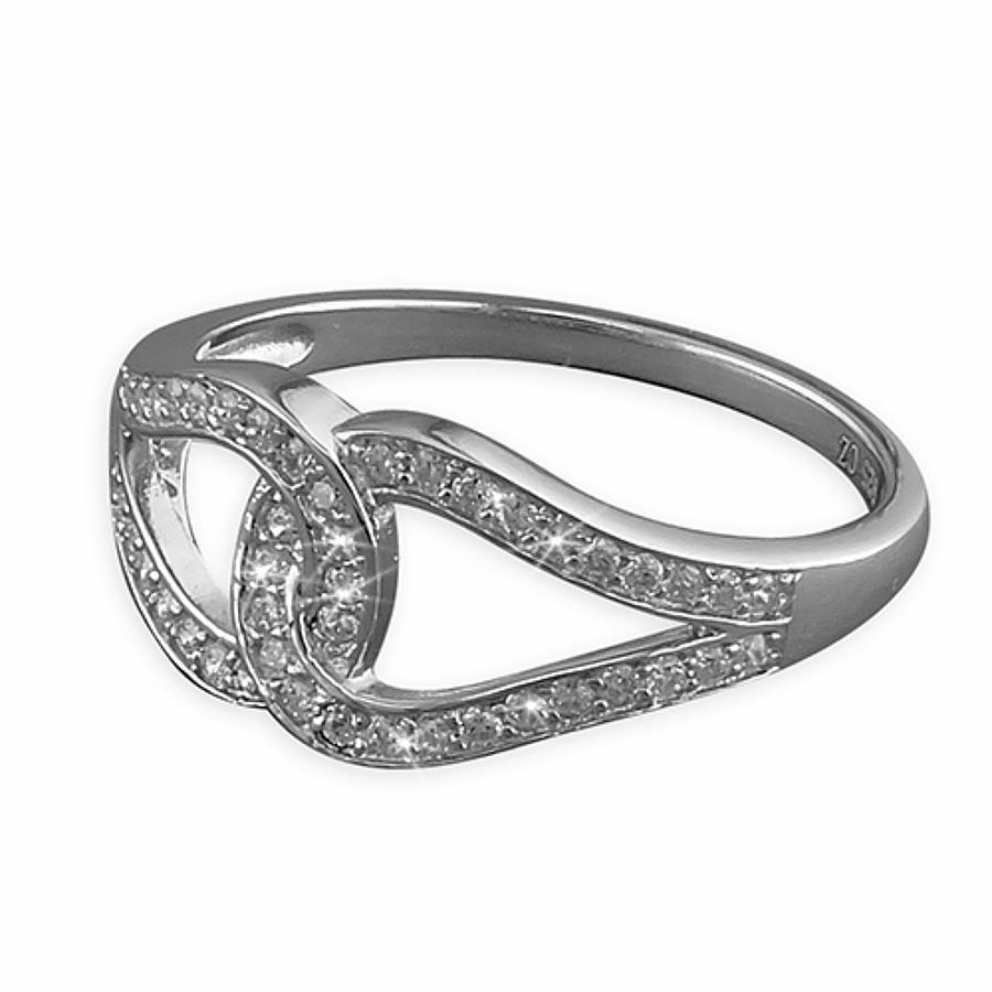 Sterling Silver Double Interlocked Cubic Zirconia Ring