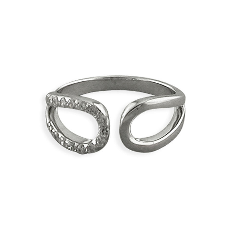 Sterling Silver Open Double Loop Cubic Zirconia Ring