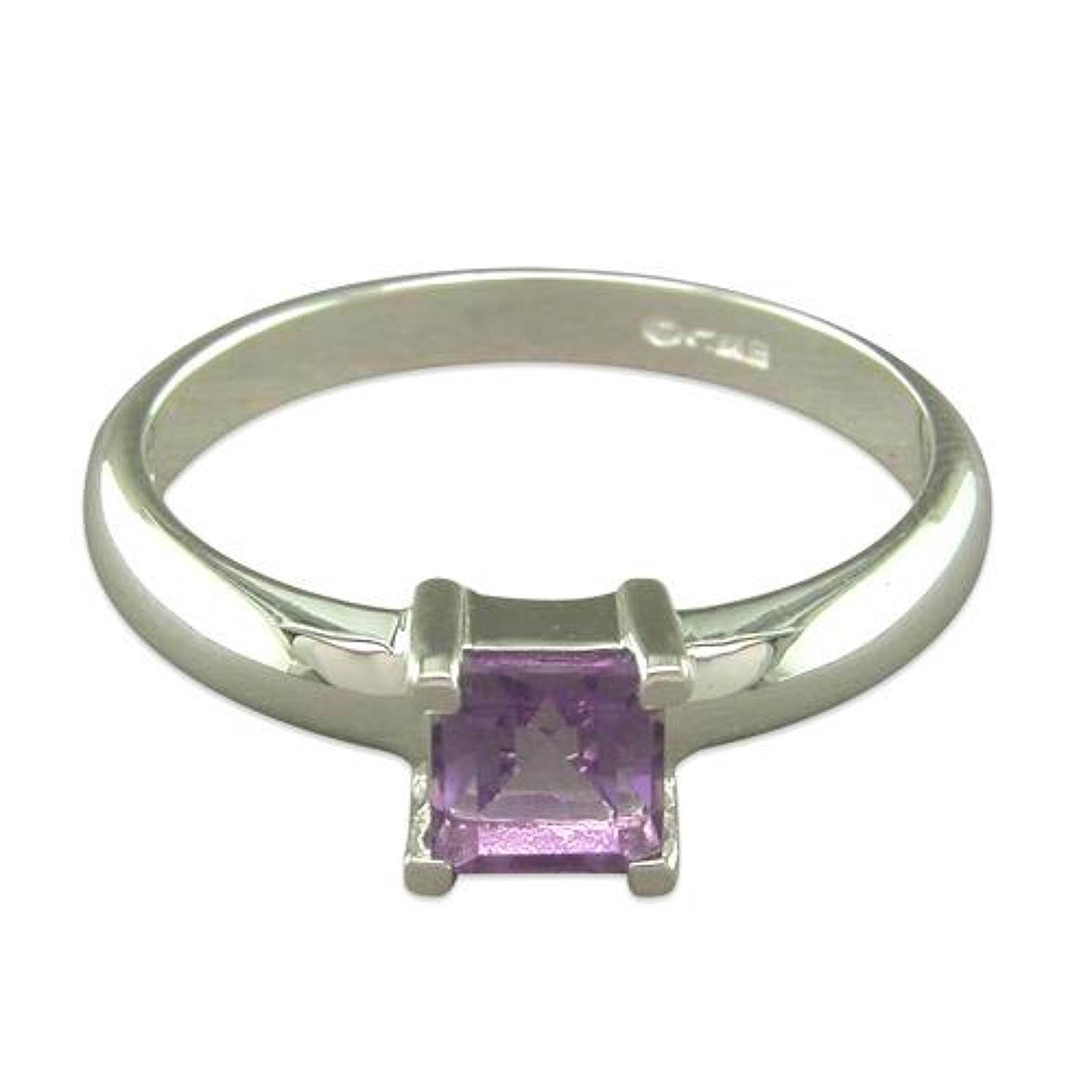 Sterling Silver Square Amethyst Ring
