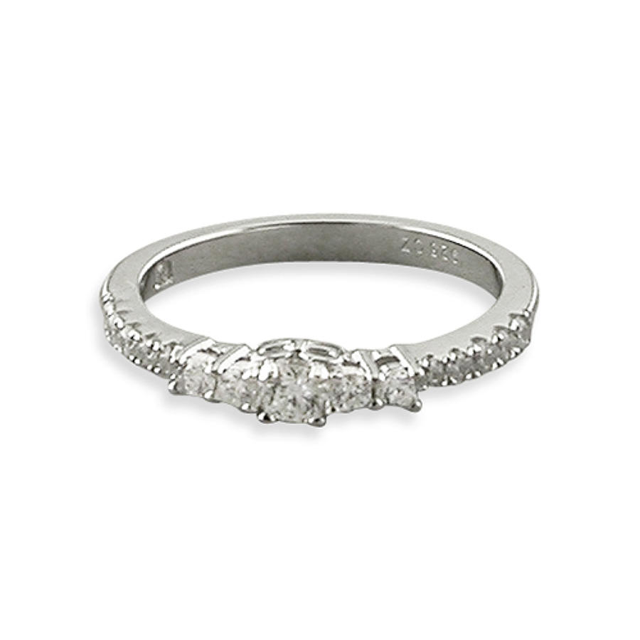 Sterling Silver Cubic Zirconia Graduated Band Ring