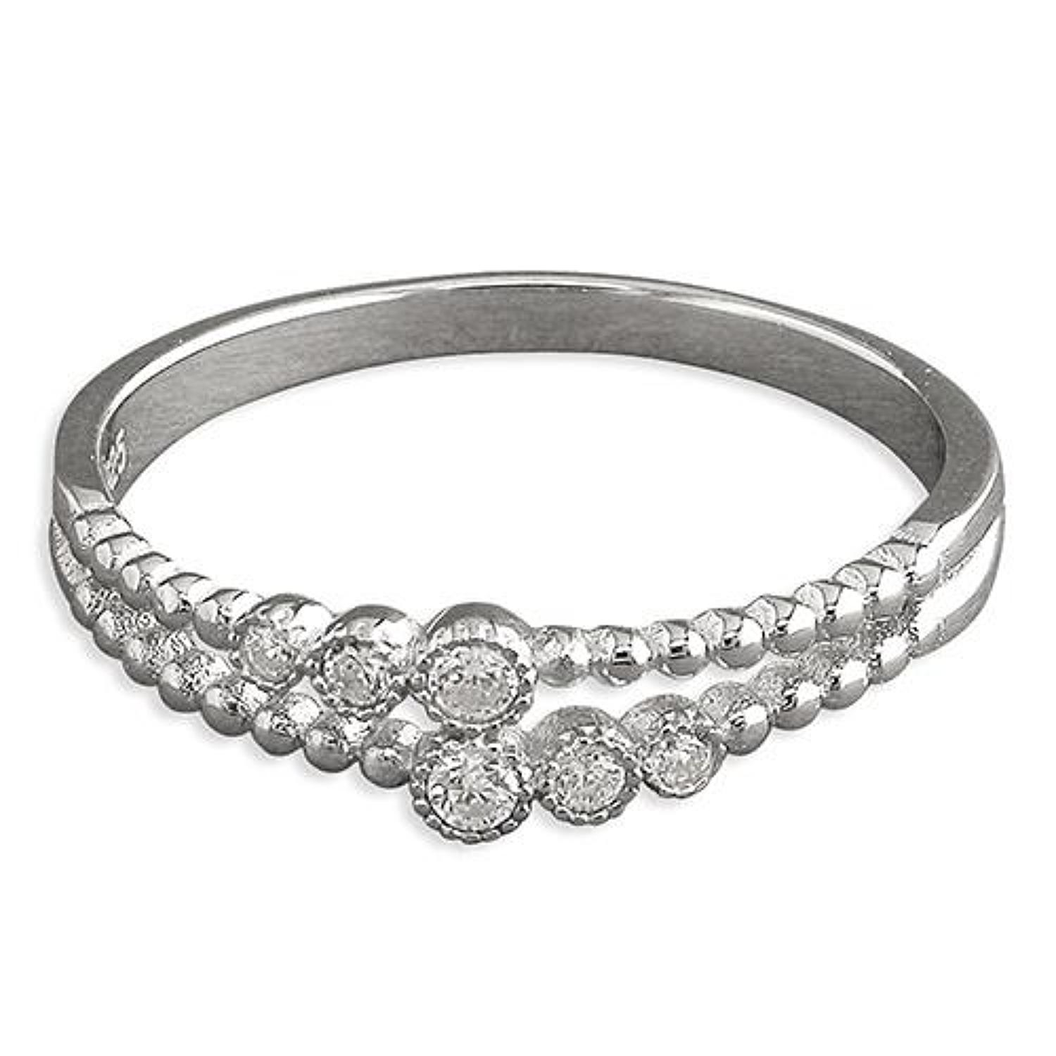 Sterling Silver Double Row Cubic Zirconia Band Ring