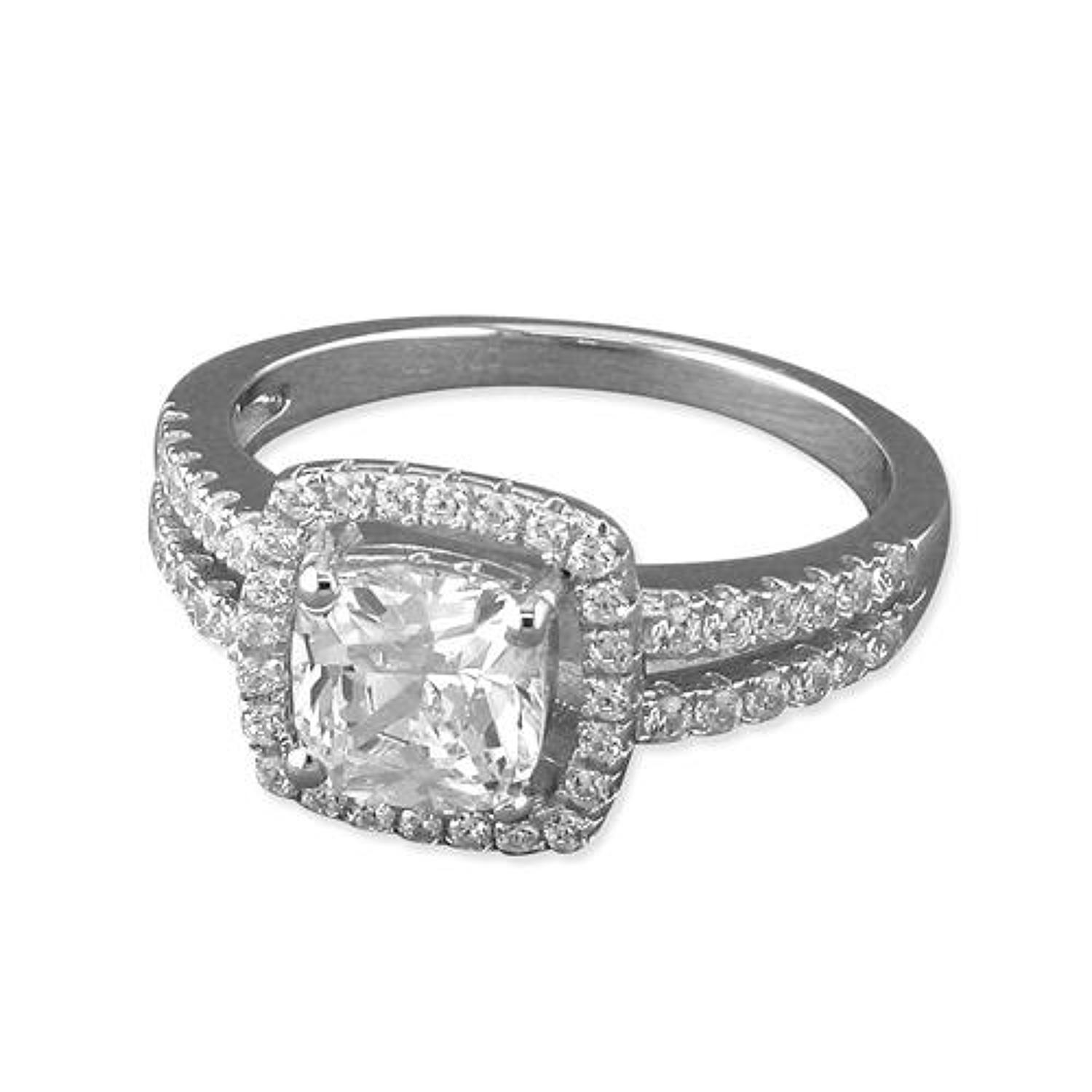 Sterling Silver Large Cubic Zirconia Square Cluster Ring