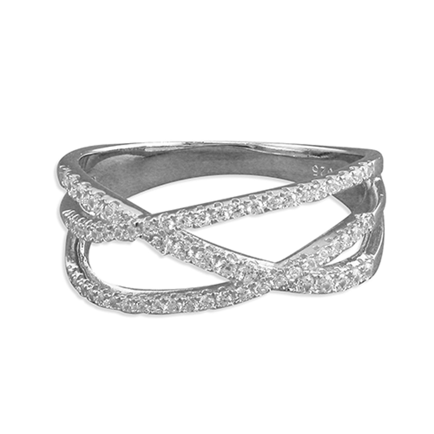 Sterling Silver Triple Band Cross-Over Ring