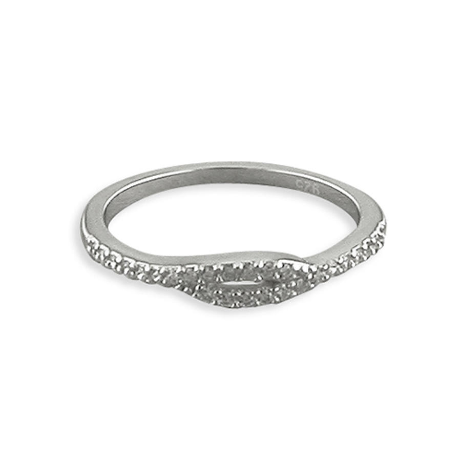 Sterling Silver Cubic Zirconia Cross-Over Ring