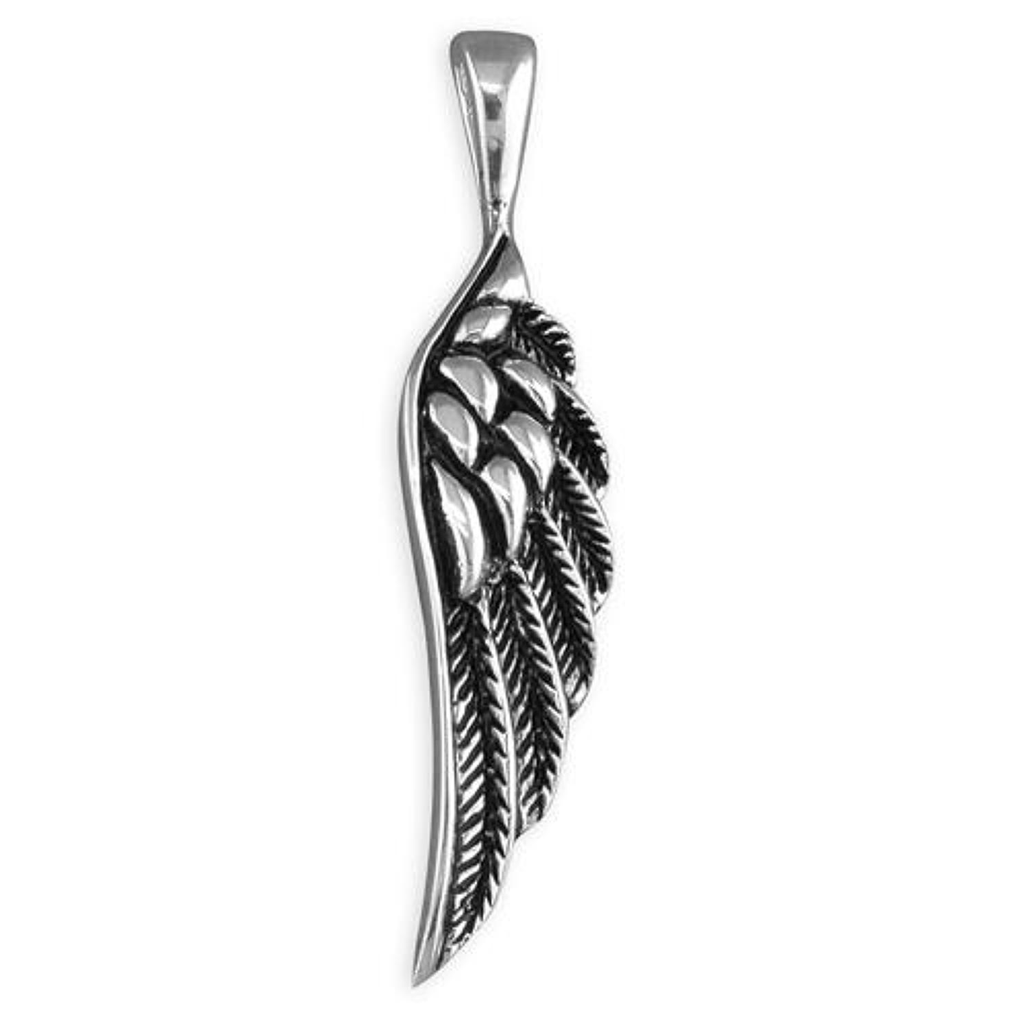 Sterling Silver Oxidised Angel Wing Pendant