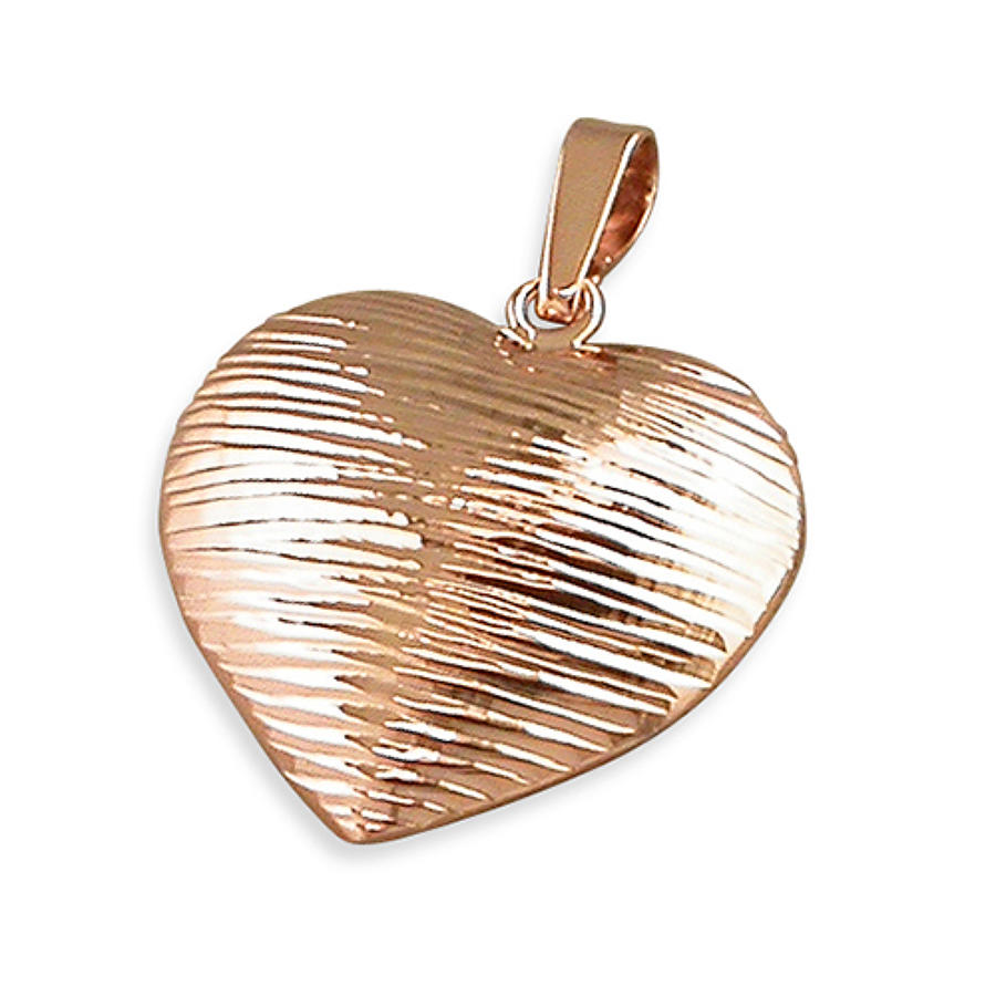 Sterling Silver & Rose Gold Plated Diamond Cut Striped Heart Pendant