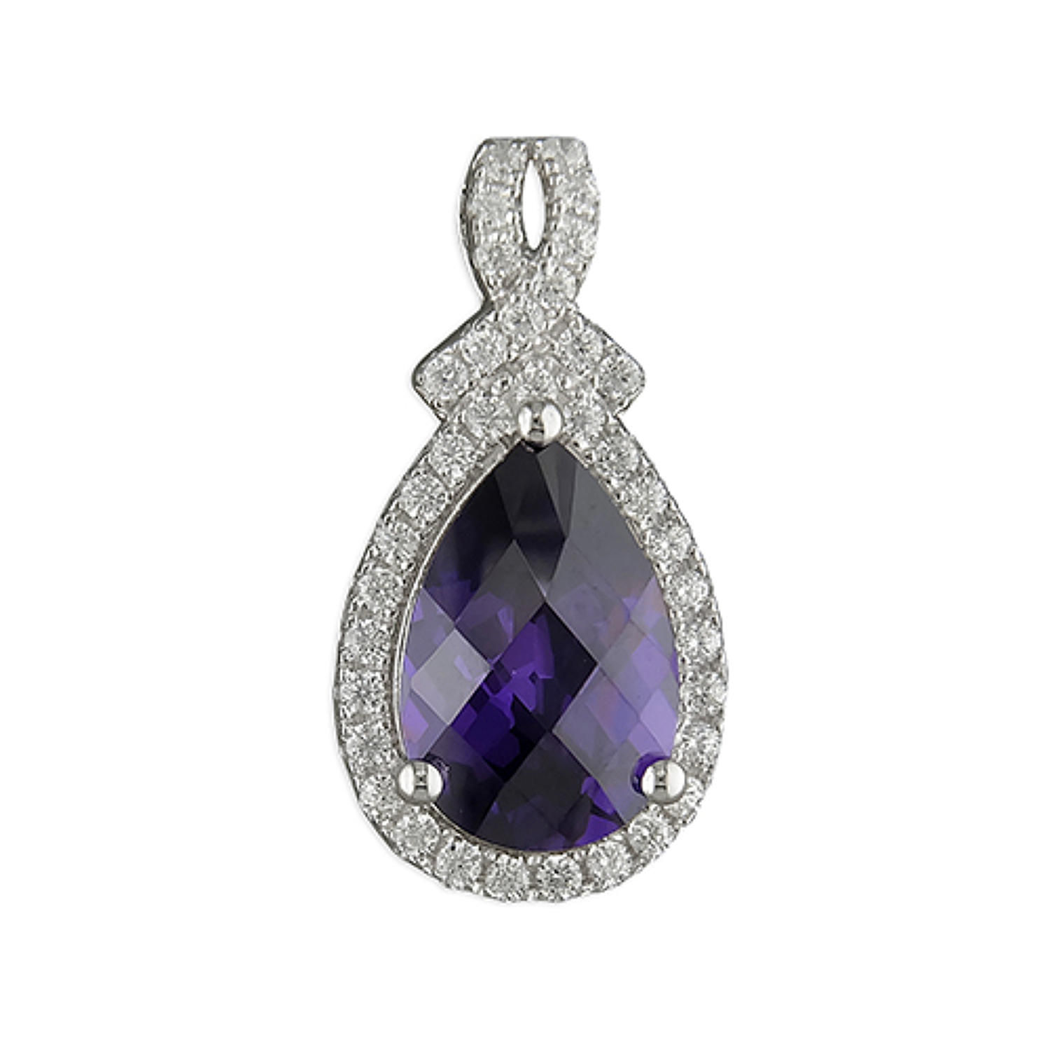 Sterling Silver Facetted Purple Cubic Zirconia Teardrop Pendant