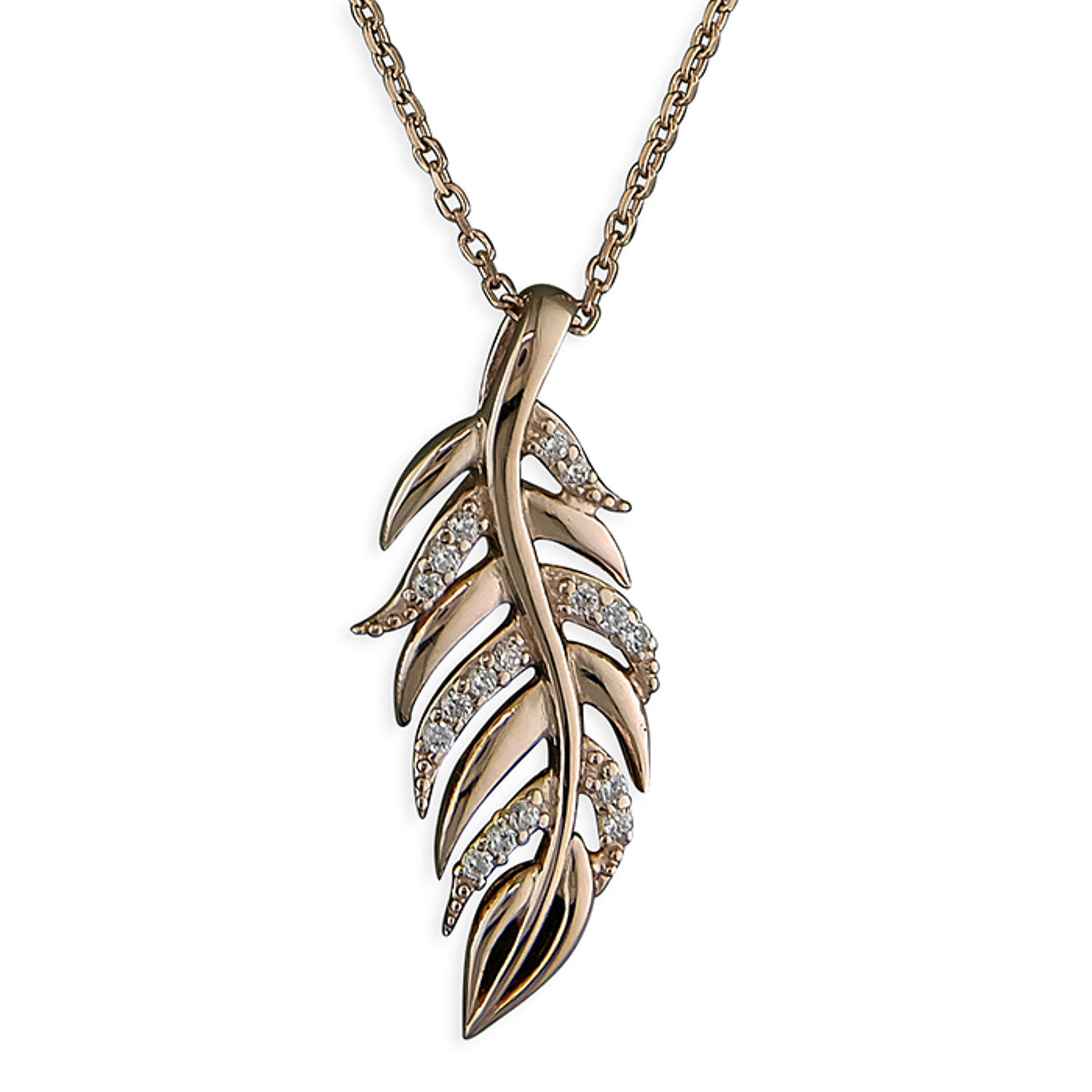 Sterling Silver & Rose Gold Plated Cubic Zirconia Feather Pendant