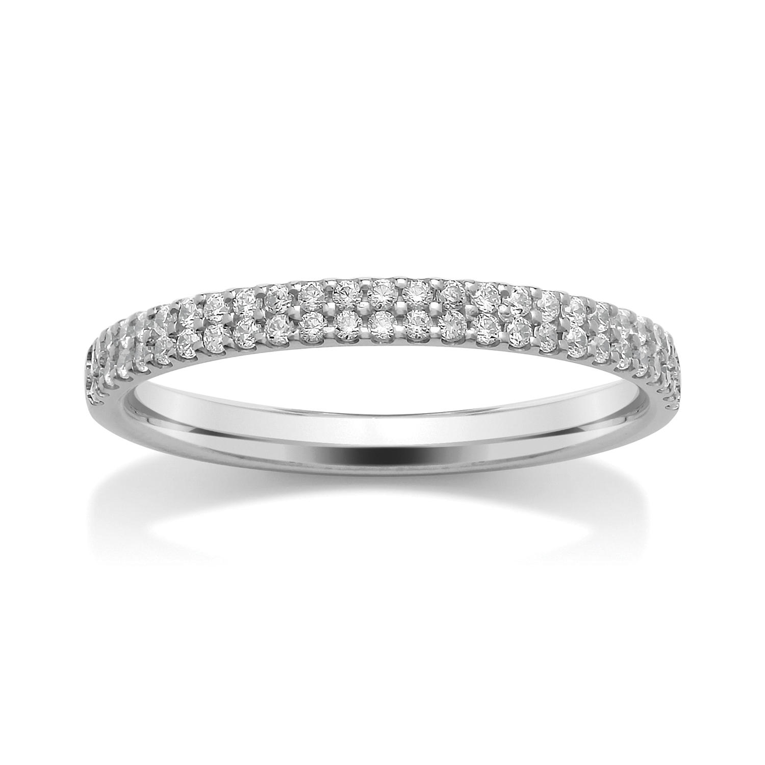 2.2mm Double Row, Claw Set Diamond Ring