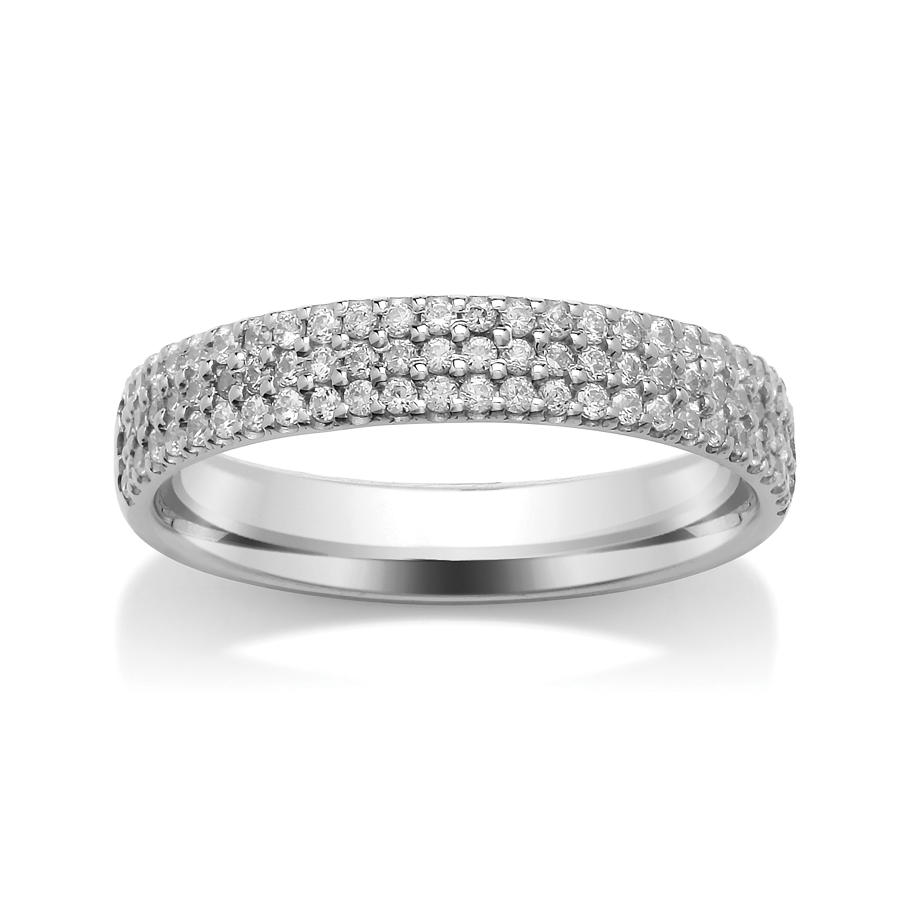 3.6mm Triple Row, Claw Set Diamond Ring
