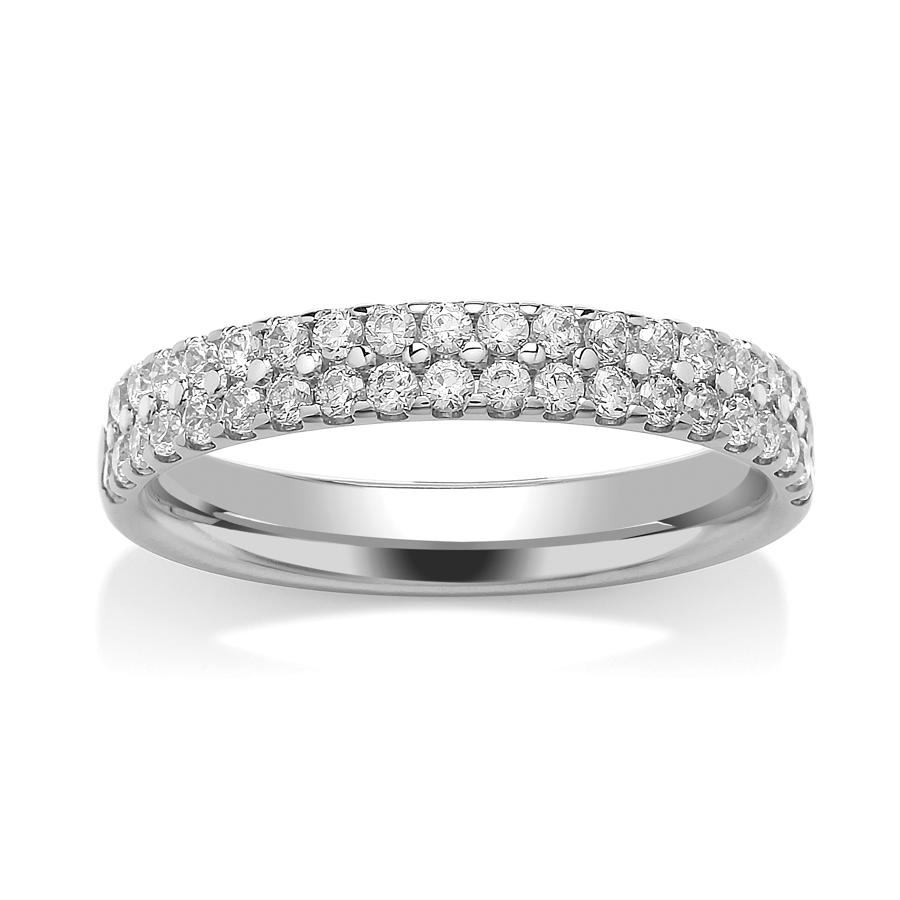3.2mm Double Row, Claw Set Diamond Ring