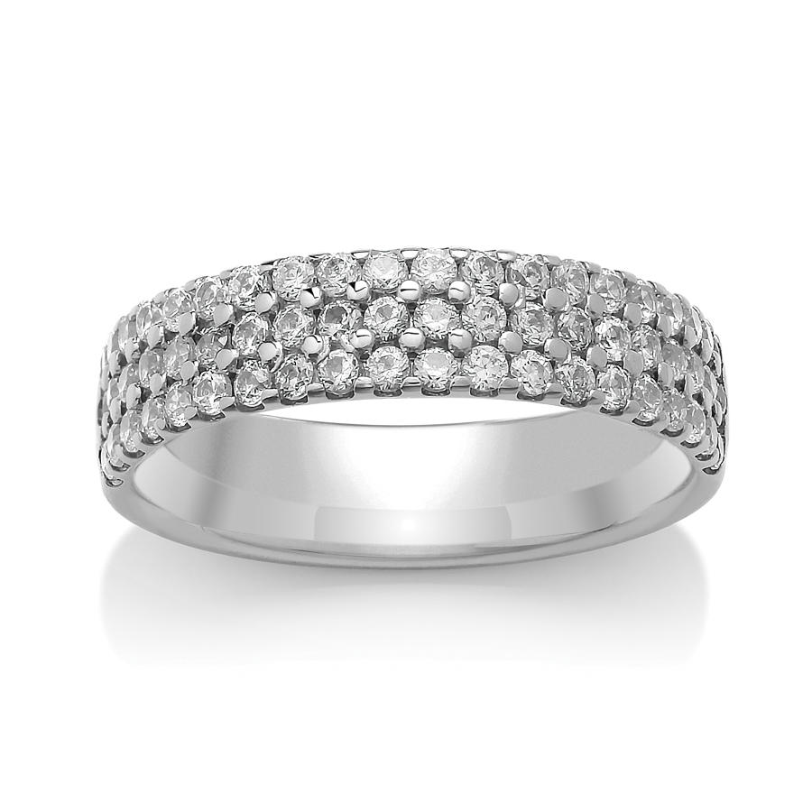4.7mm Triple Row, Claw Set Diamond Ring